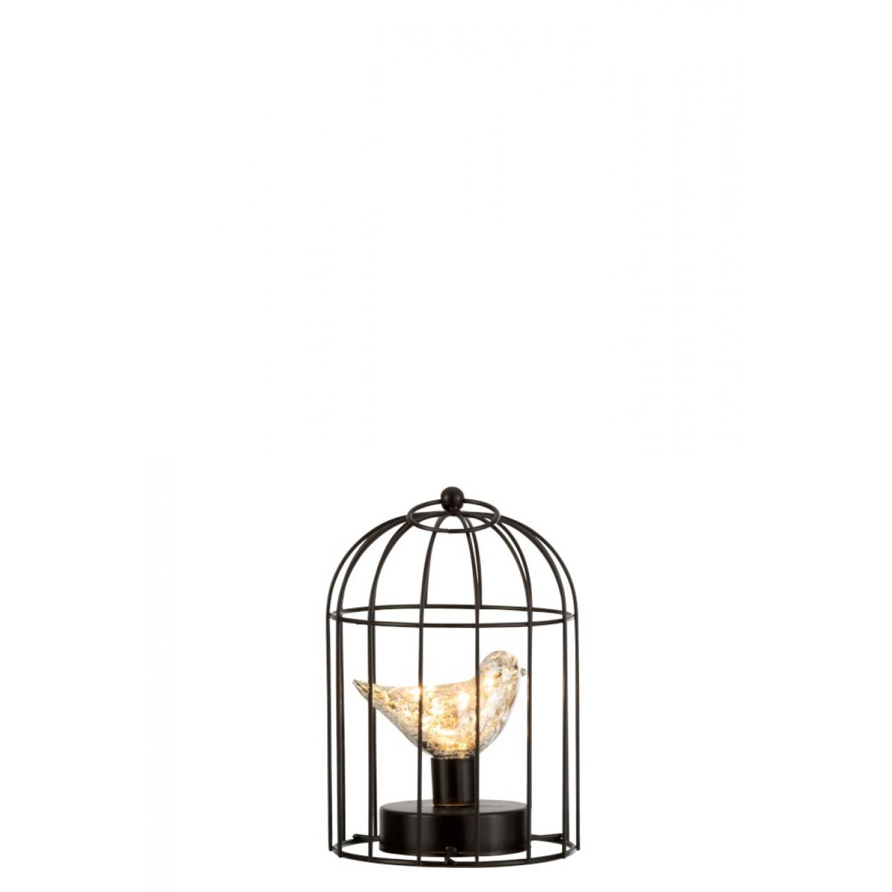 Ночник  J-LINE в виде птички серебряного цвета в клетке высота 23 см