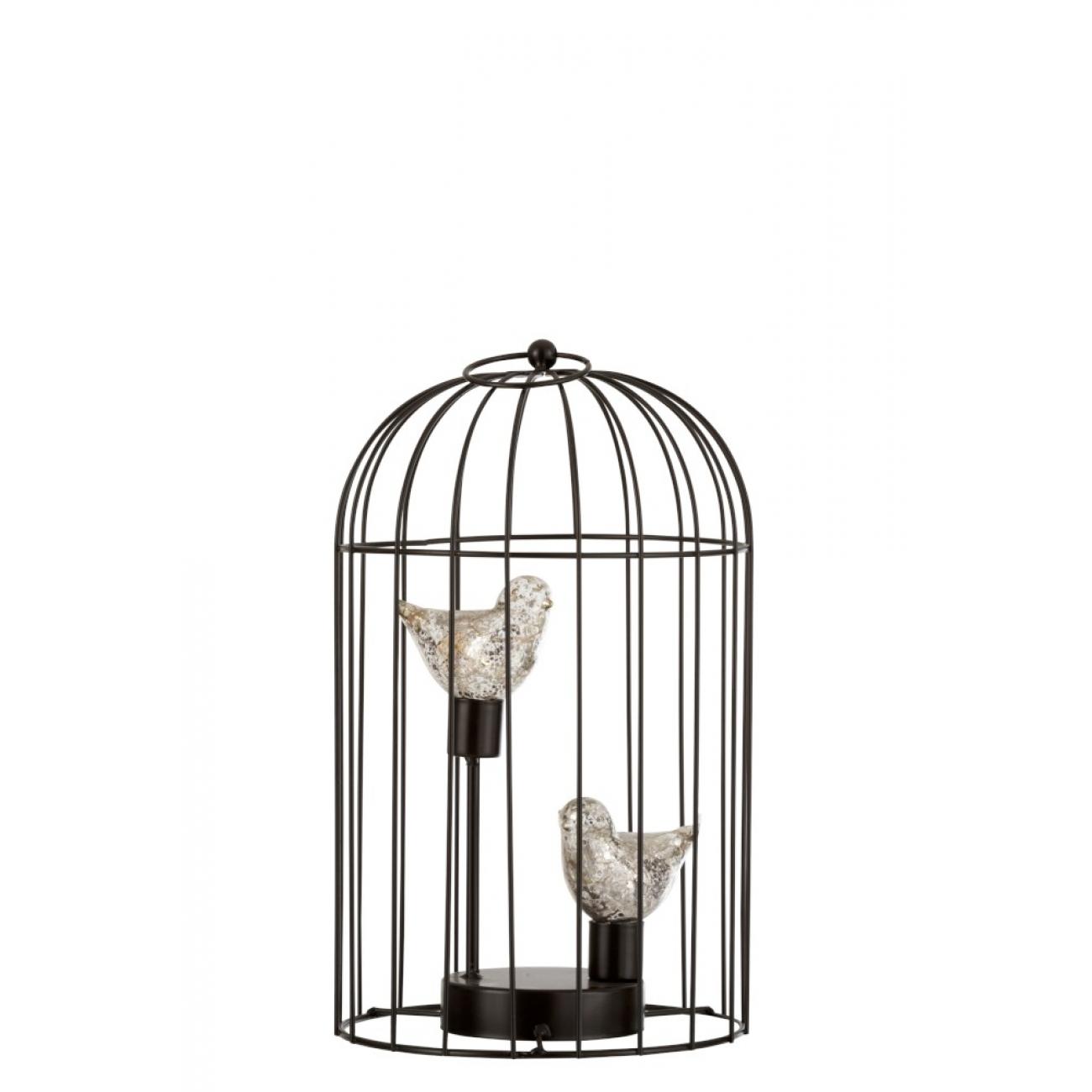 Ночник  J-LINE в виде двух птичек серебристого цвета в клетке высота 36 см