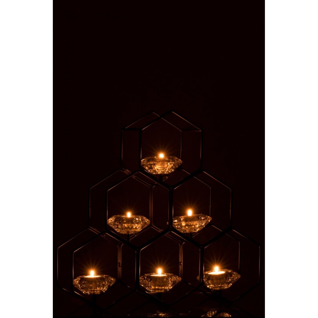 Подсвечник J-LINE металлический черный в форме сот на 6 свечей высота 42 см