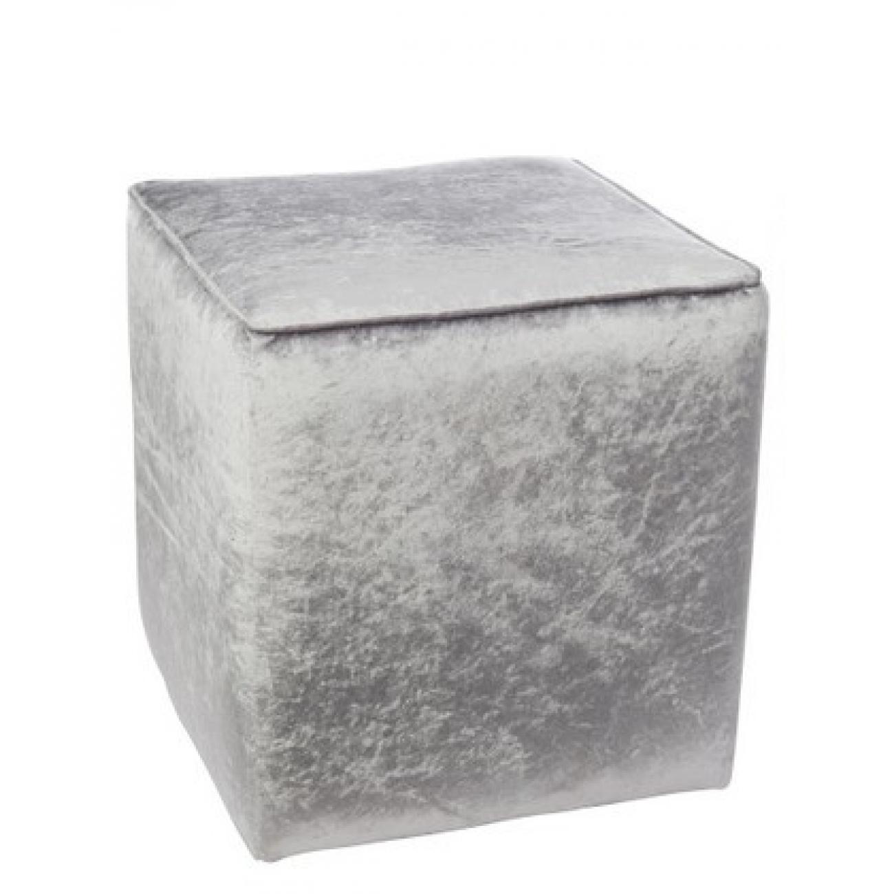 Пуф J-LINE вельветовый серый стальной 36х36х37см