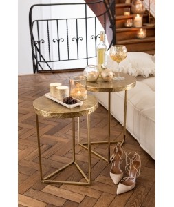 Журнальные столики J-LINE комплект из двух столиков из металла золотого цвета Бельгия