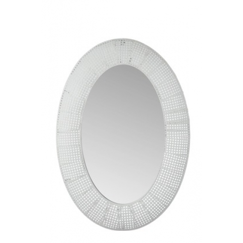 Зеркало J-LINE овальное настенное в белой раме из перфорированного металла 65х91 см Бельгия