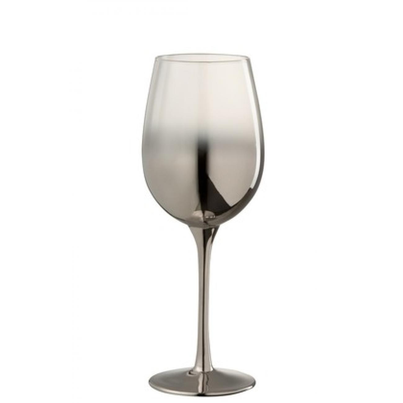 Бокал для вина стеклянный  J-LINE серебряного цвета зеркальный обьем 360 мл Бельгия