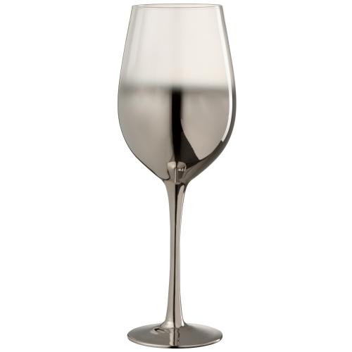 Бокал для вина стеклянный  J-LINE серебряного цвета зеркальный обьем 420 мл Бельгия