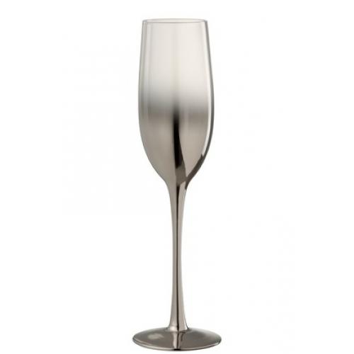 Бокал для шампанского стеклянный  J-LINE серебряного цвета зеркальный обьем 250 мл Бельгия