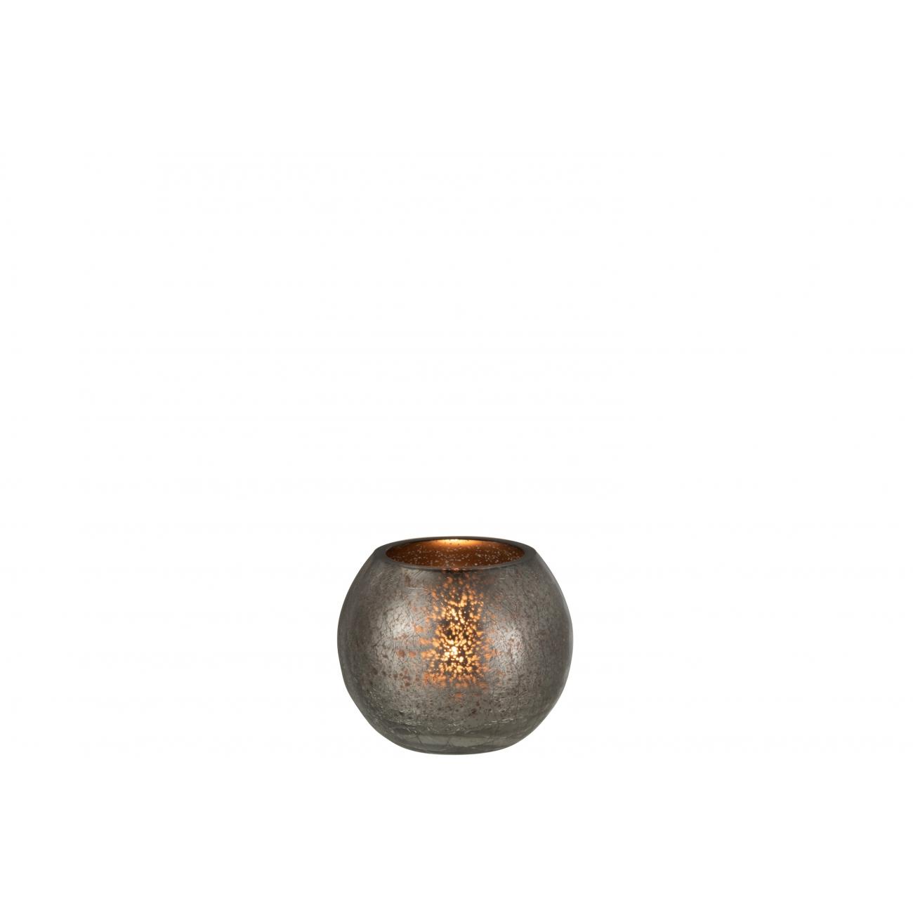 Подсвечник J-LINE стеклянный с эффектом разбитого стекла матовый серого цвета 13х13 см Бельгия