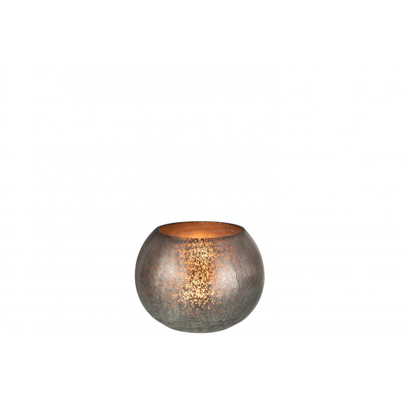 Подсвечник J-LINE стеклянный с эффектом разбитого стекла матовый серого цвета 15х15 см Бельгия