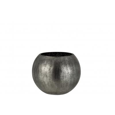 Подсвечник J-LINE стеклянный с эффектом разбитого стекла матовый серого цвета 20х20 см Бельгия