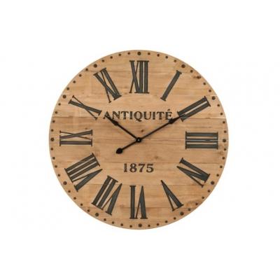 Настенные часы J-LINE круглые коричневые в корпусе из натурального дерева диаметр 110 см