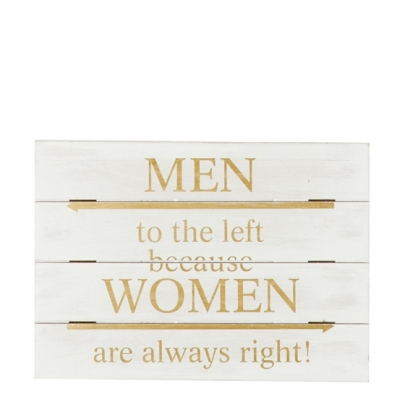 Табличка J-LINE деревянная Мужчины в бежевом цвете