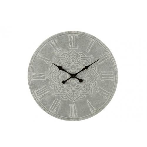 Настенные часы J-LINE серые круглые с металлической основой с декором мандала диаметр 74 см
