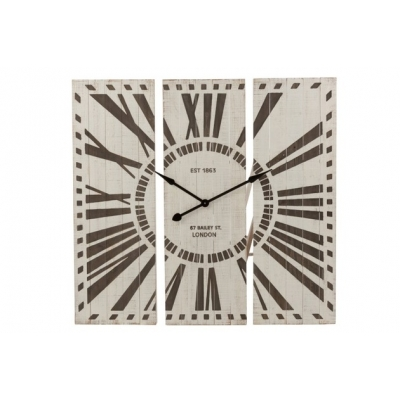 Настенные часы J-LINE с деревянной основой из трех частей 108х107 см
