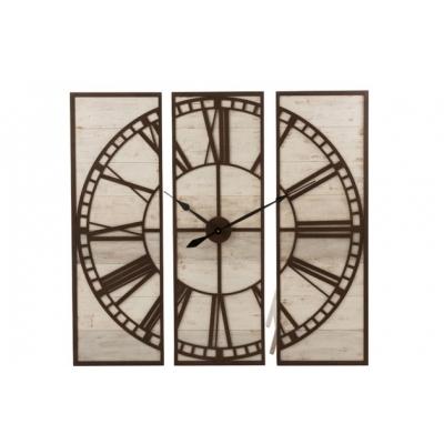 Настенные часы J-LINE в металлическом корпусе коричневые с  деревянной основой из трех частей 114х115 см
