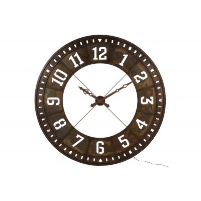 Настенные часы J-LINE круглые с лед-подсветкой в стильном металлическом корпусе коричневого цвета с арабскими цифрами диаметр 144 см