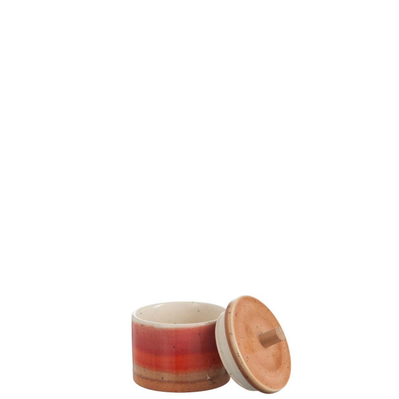 Баночка емкость для хранения J-LINE керамическая красного цвета