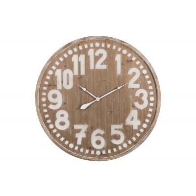 Настенные часы J-LINE круглые коричневые в корпусе из натурального дерева диаметр 100 см Бельгия