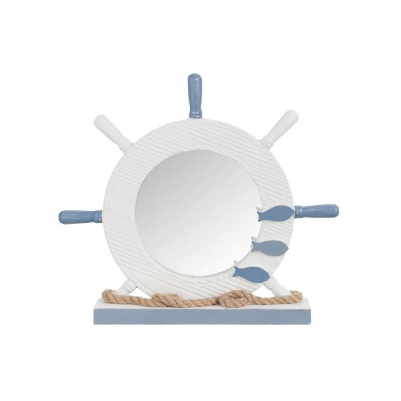 Зеркало J-LINE настольное фигурное в деревянной раме в виде корабельного штурвала с декоративными элементными в морской тематике 42х37 см Бельгия