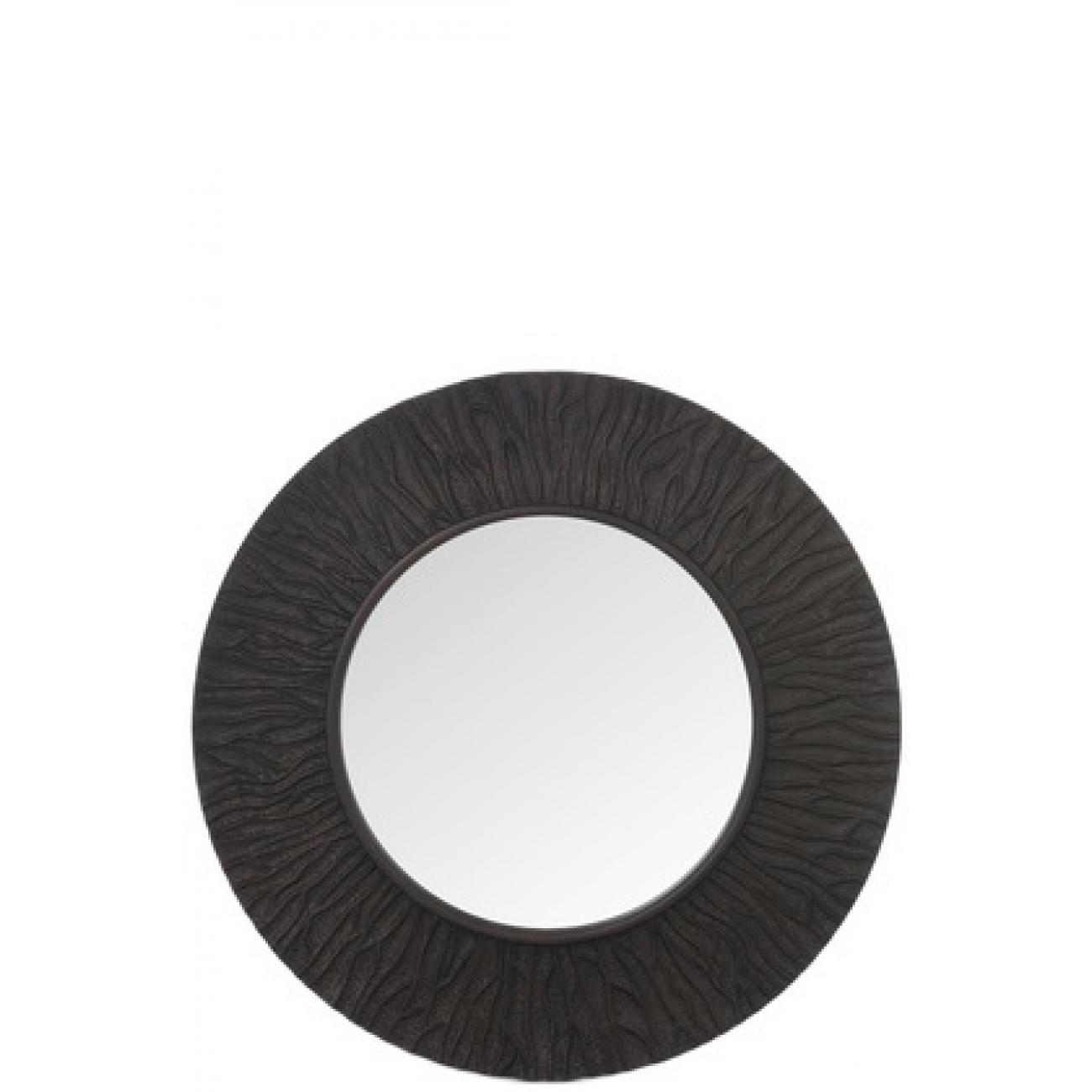 Зеркало J-LINE круглое настенное в черной полиуретановой ребристой раме темно коричневого цвета диаметр 100 см Бельгия