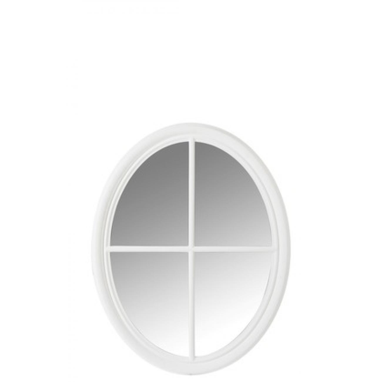 Зеркало J-LINE овальное настенное в  белой деревянной раме в форме окна 74х94 см Бельгия