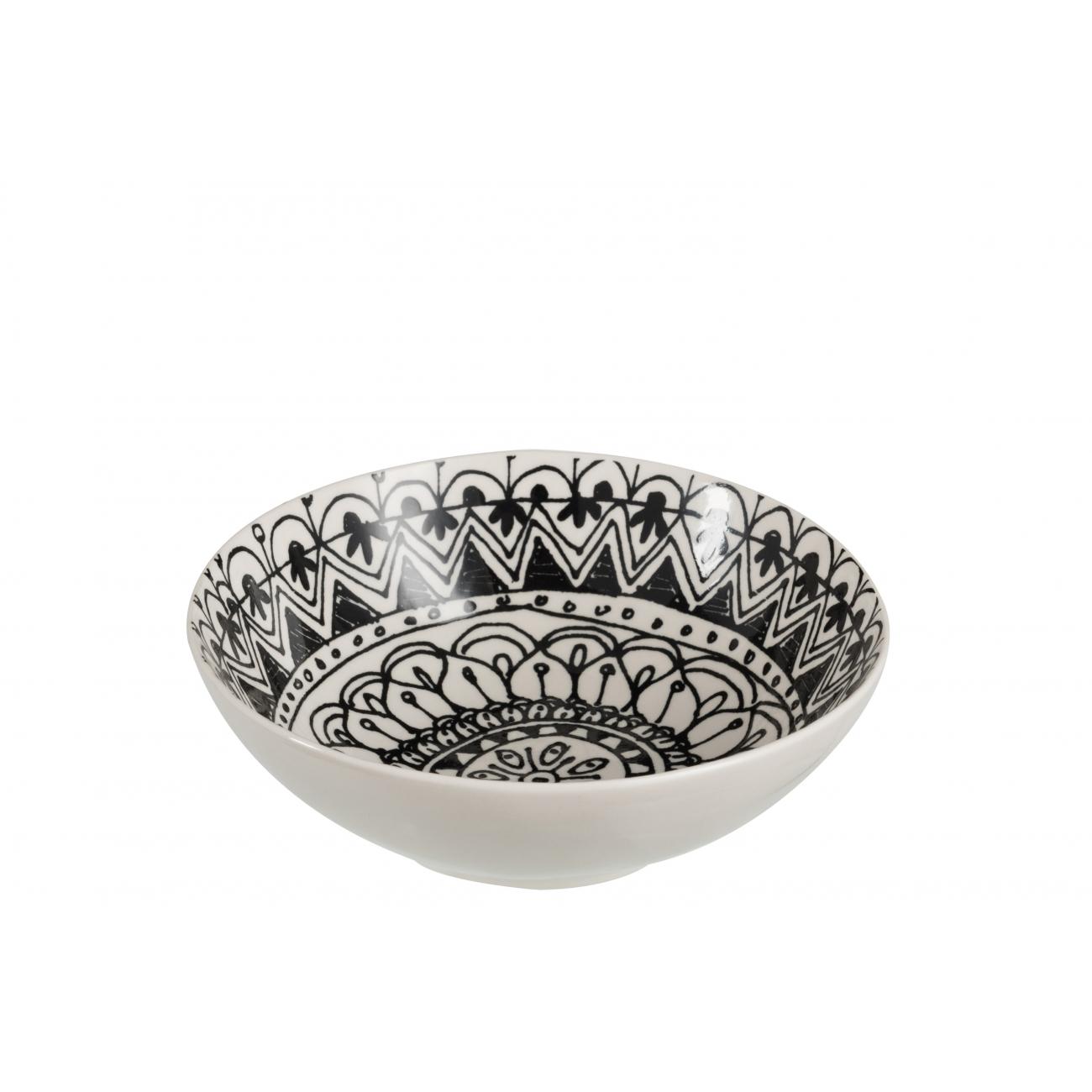 Пиала  J-LINE керамическая черно-белого цвета диаметр 18 см Бельгия