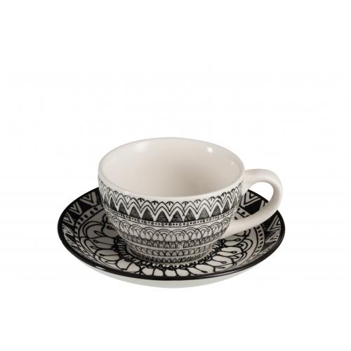 Чашка и блюдце J-LINE черно-белого цвета 250 мл Бельгия
