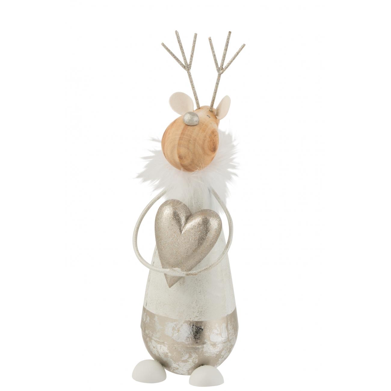 Статуэтка J-LINE олень новогодний с сердечком высота 30 см Бельгия