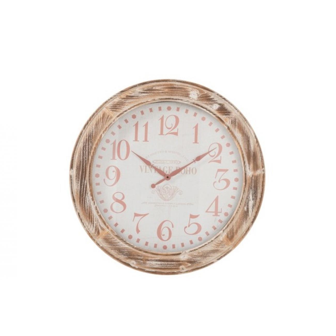 Настенные часы J-LINE круглые светло-коричневые в корпусе из натурального дерева диаметр 78 см