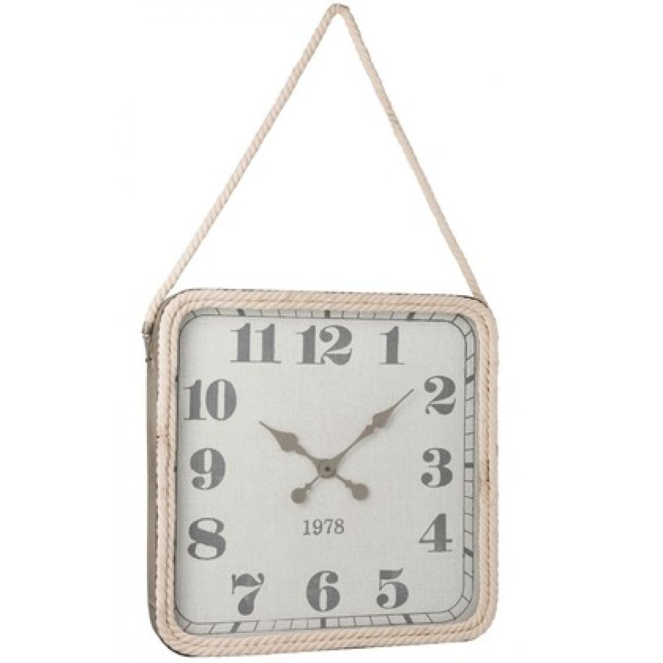 Настенные часы J-LINE квадратные в металлическом сером корпусе с канатным держателем 60х60 см