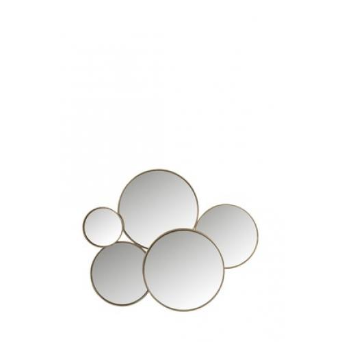 Зеркало J-LINE настенное фигурное в виде пяти кругов в золотистой металлической раме Бельгия