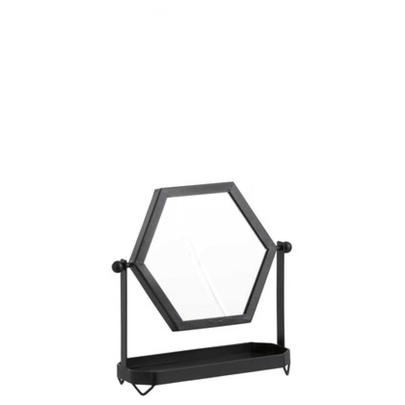 Зеркало J-LINE фигурное настольное в металлической раме на ножках с полочкой черное 30х29 см Бельгия
