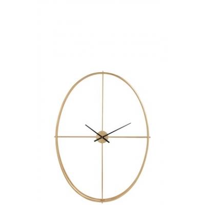 Настенные часы  J-LINE золотистые в металлическом корпусе овальные высота 126 см