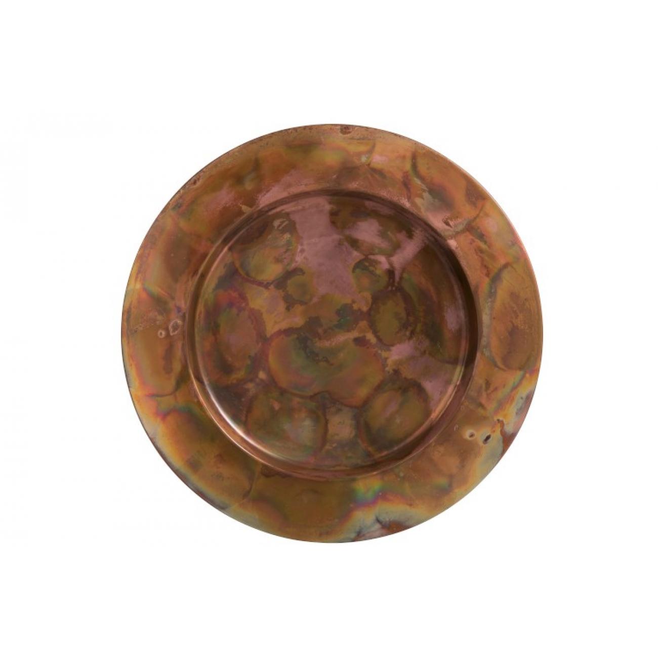 Блюдо J-LINE круглое металлическое бронзового цвета диаметр 36 см