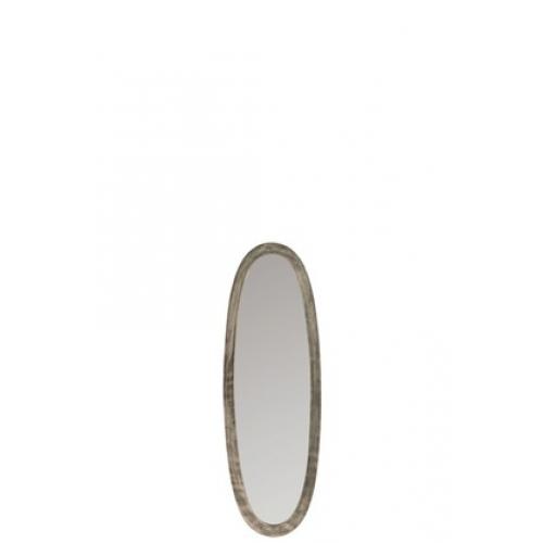 Зеркало J-LINE овальное настенное в серебристой алюминиевой раме 33х100 см Бельгия