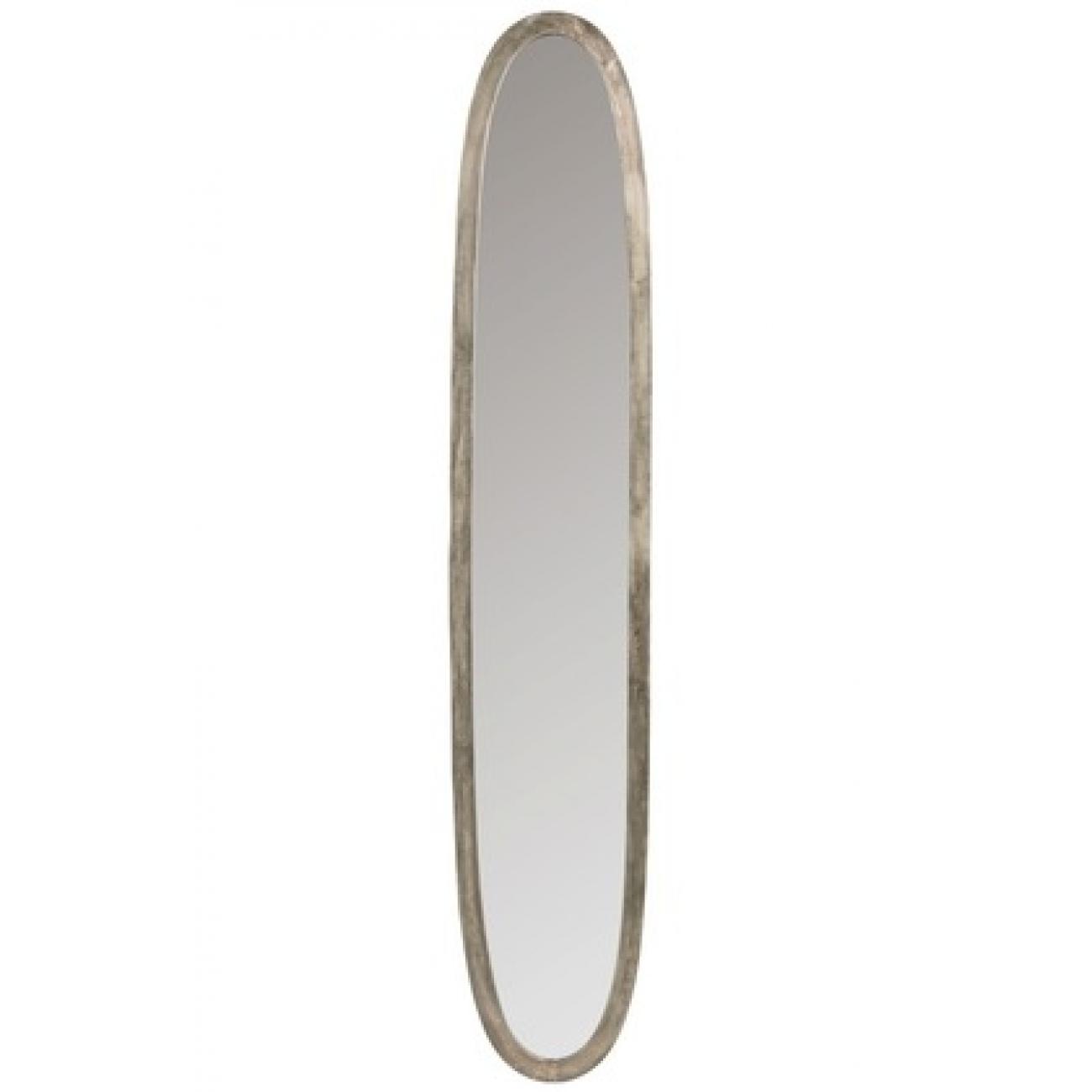 Зеркало J-LINE овальное настенное в серебристой алюминиевой раме 33х180 см Бельгия