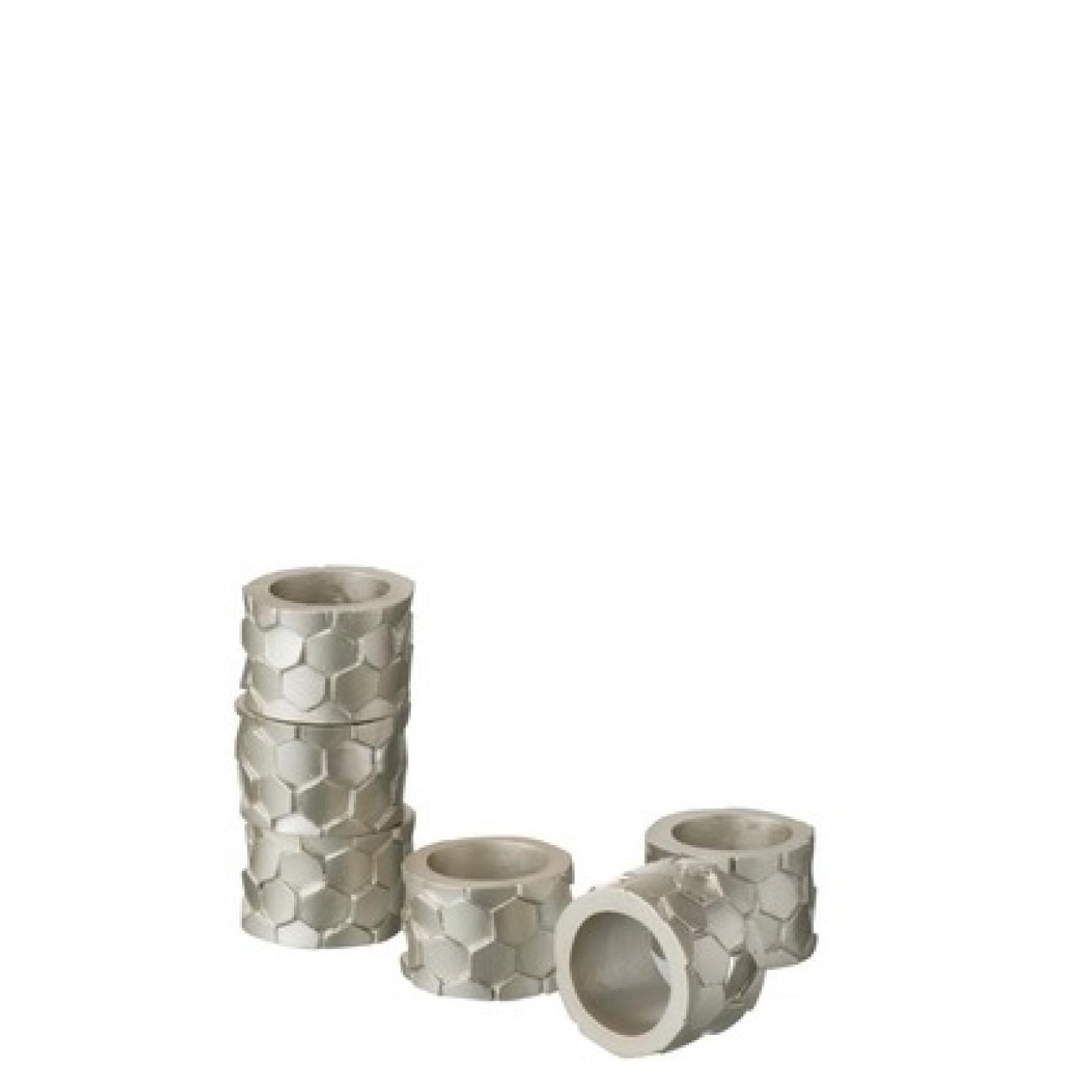 Набор колец для салфеток J-LINE сервировочный серо золотистый диаметр 5 см