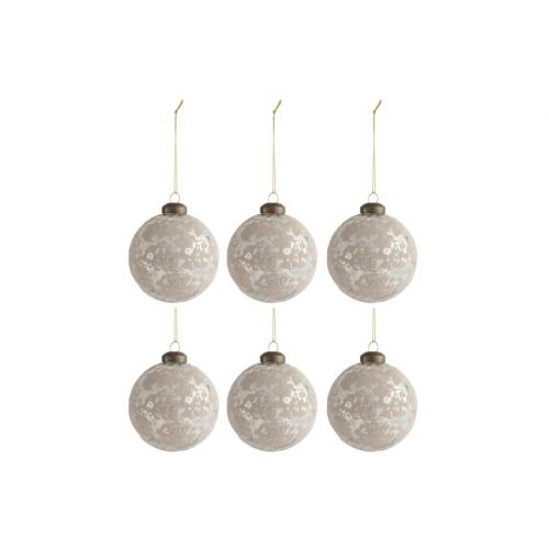 Набор елочных стеклянных шаров J-LINE серебристые 8 см