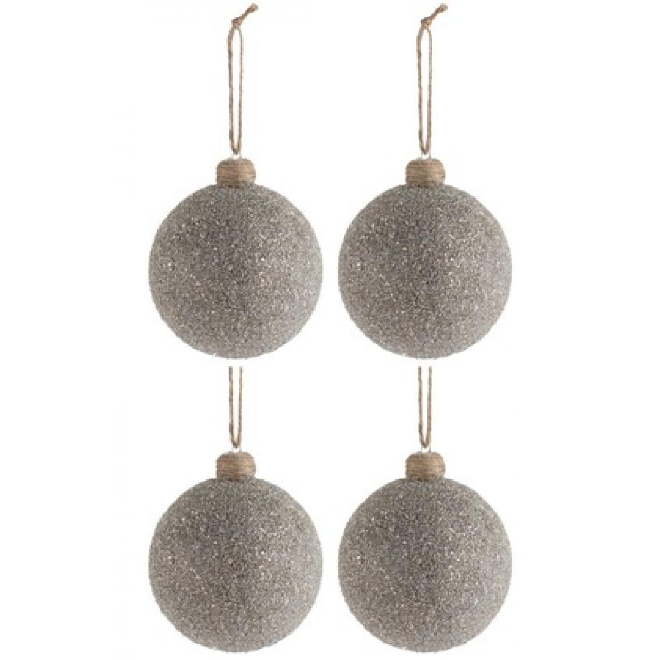Набор елочных стеклянных шаров J-LINE серебрянные усыпанные стеклянной крошкой 10 см