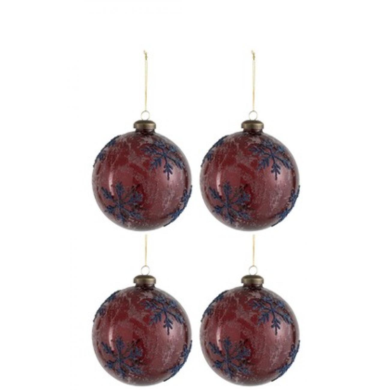 Набор елочных стеклянных шаров J-LINE бордовые с синими снежинками диаметр 10 см