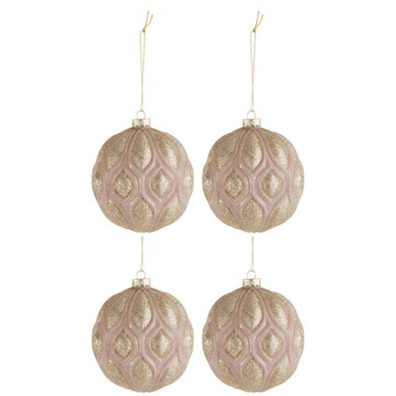 Набор елочных стеклянных шаров J-LINE светло-розовые с золотистым декором 11 см