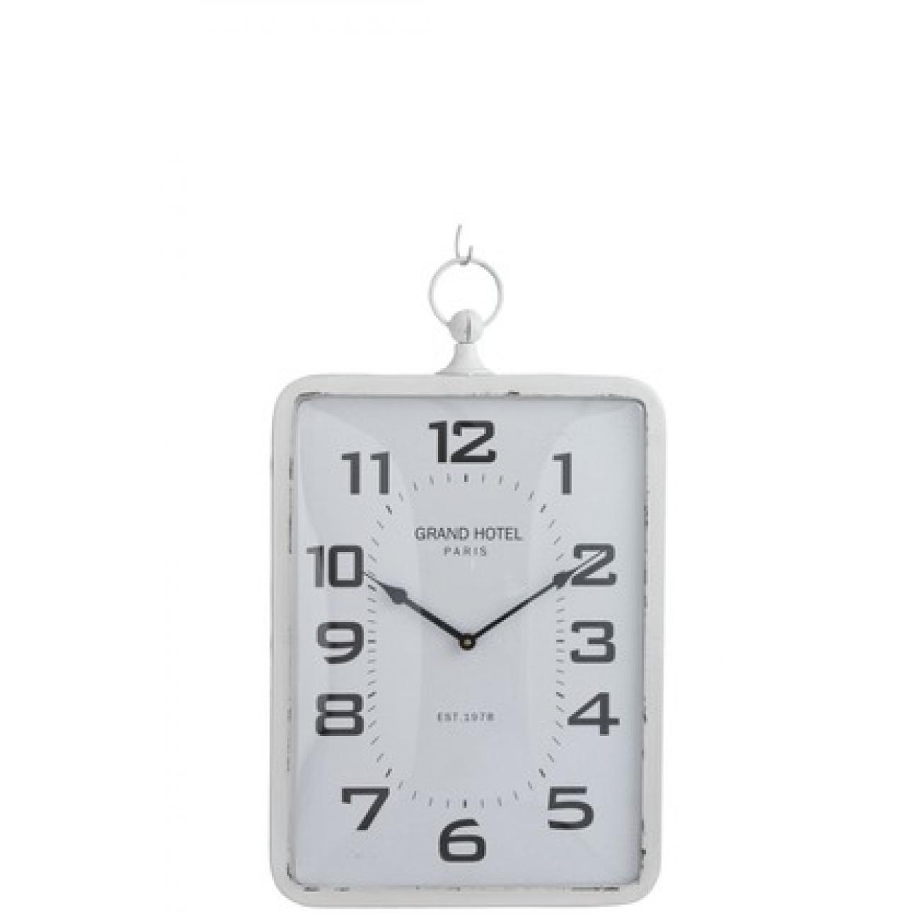 Настенные часы J-LINE прямоугольные в металлическом белом корпусе Grand Hotel 39х59 см