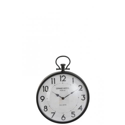 Настенные часы J-LINE круглые в черном металлическом корпусе с арабскими цифрами Grand Hotel диаметр 38 см
