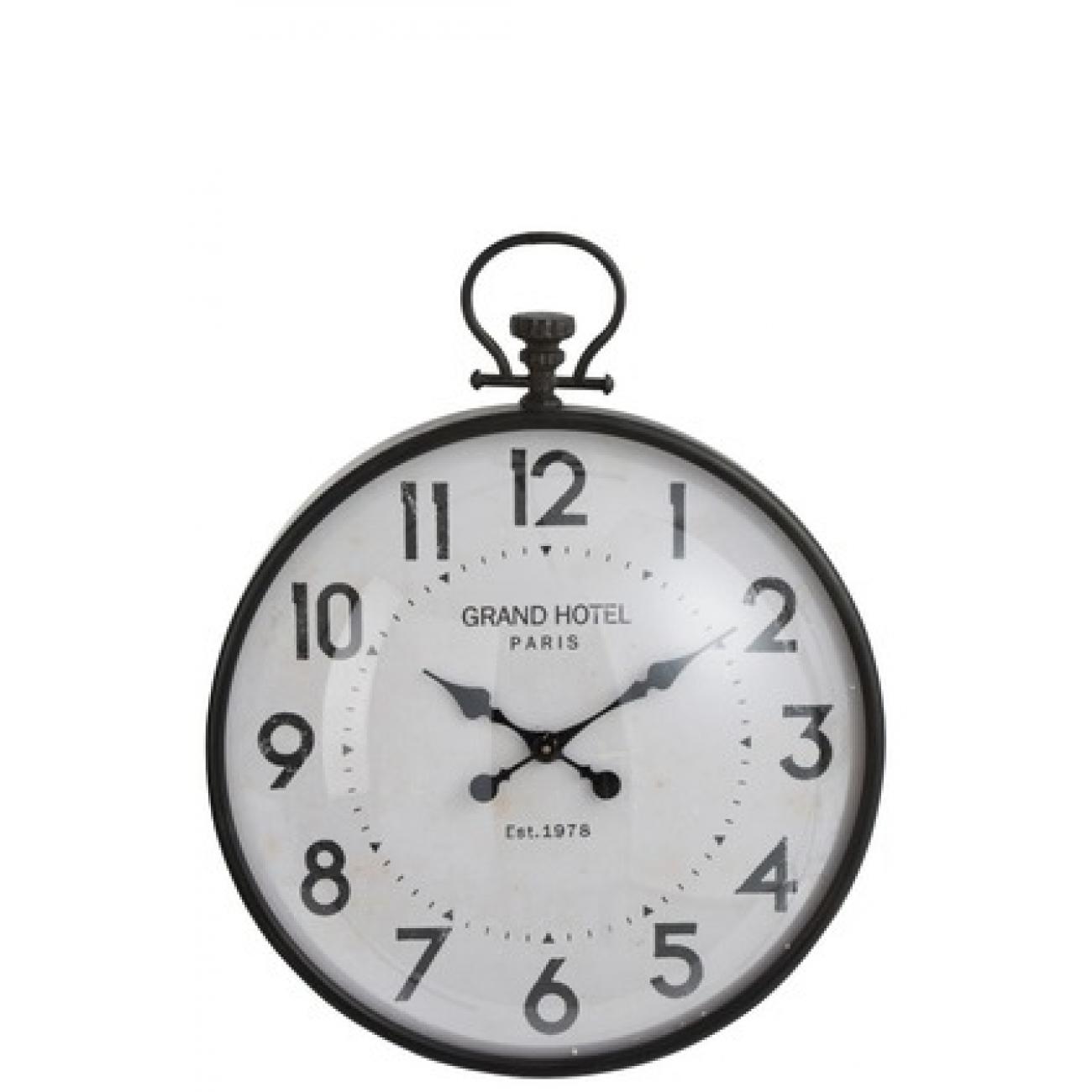 Настенные часы J-LINE круглые в черном металлическом корпусе с арабскими цифрами Grand Hotel диаметр 56 см