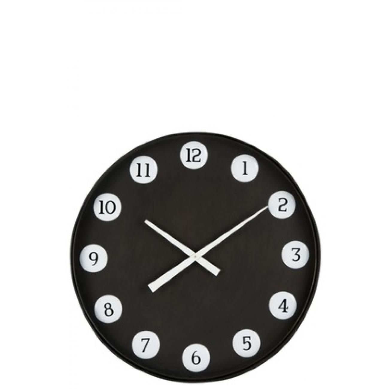 Настенные часы J-LINE круглые в металлическом корпусе черные диаметр 71 см