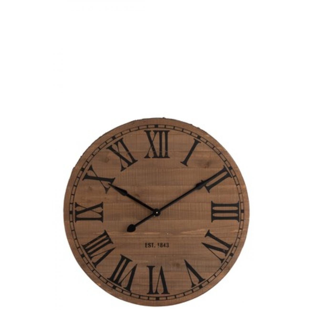 Настенные часы J-LINE круглые коричневые в корпусе из натурального дерева диаметр 85 см