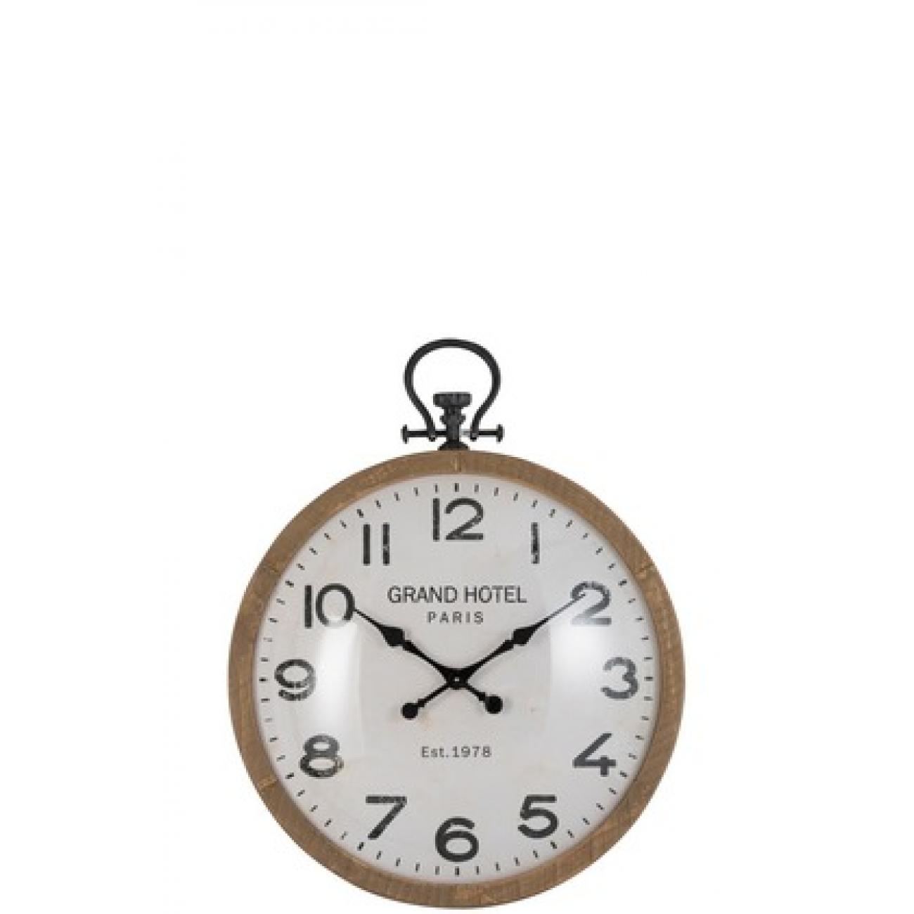Настенные часы J-LINE круглые в деревянном корпусе с римскими цифрами Grand Hotel диаметр 74 см