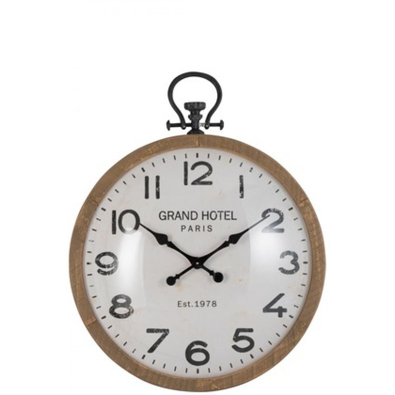 Настенные часы J-LINE круглые в деревянном корпусе с римскими цифрами Grand Hotel диаметр 90 см