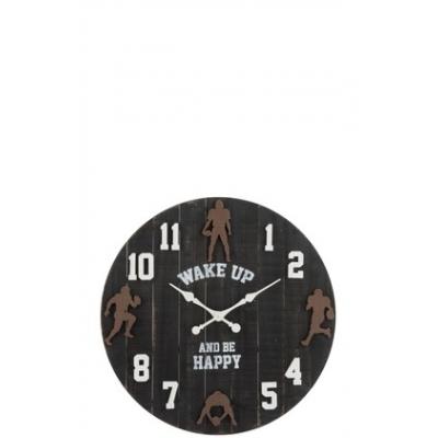 Настенные часы J-LINE круглые темно-коричневые в деревянном корпусе спортивная тематика Wake up and be happy  диаметр 82 см