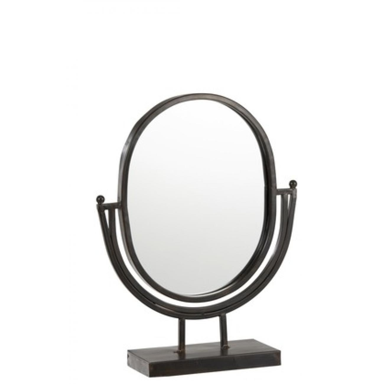 Зеркало J-LINE овальное настольное в металлической раме на ножках черное 29х37 см Бельгия
