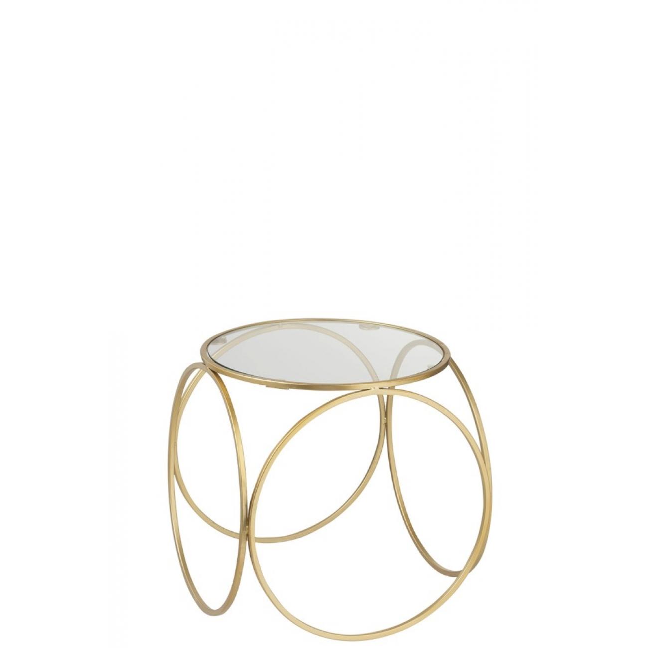 Журнальный столик J-LINE 38 см золотой со стеклом