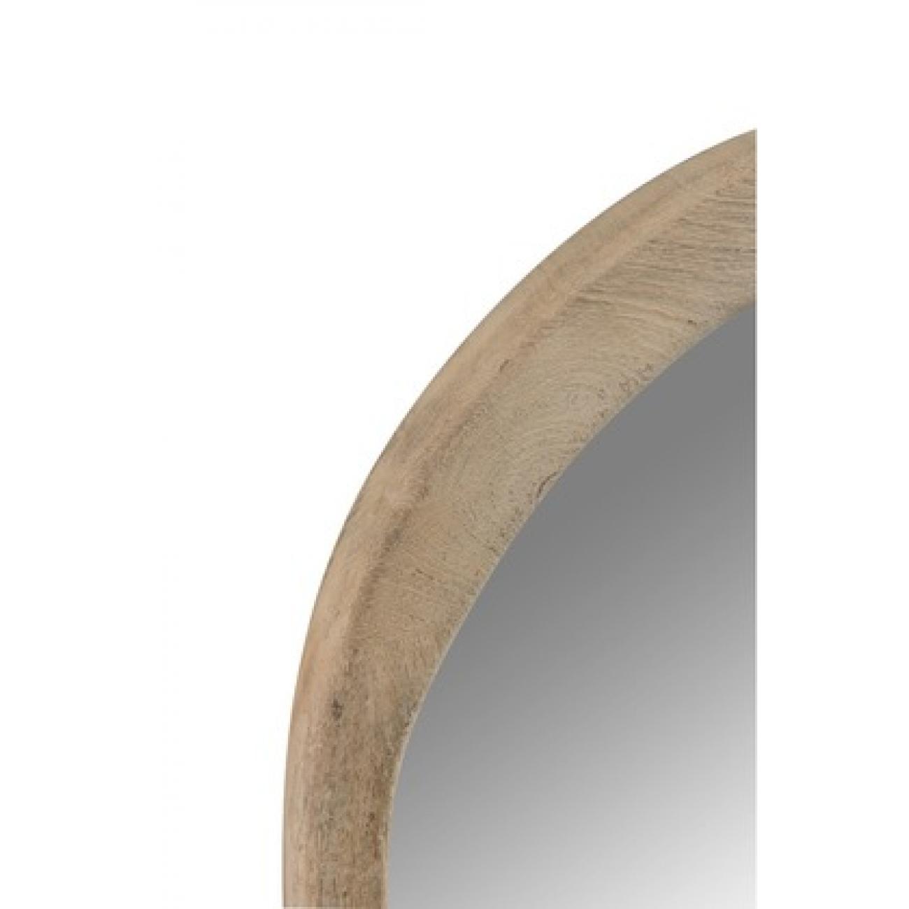 Зеркало J-LINE настенное фигурное в раме из натурального дерева манго в серо коричневых оттенках 56х60 см Бельгия